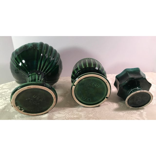 Green Drip Glaze Ceramic Planters - Set of 3 For Sale - Image 11 of 11