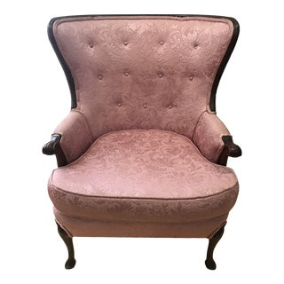 Antique Regency Victorian Mahogany Wingback Chair For Sale