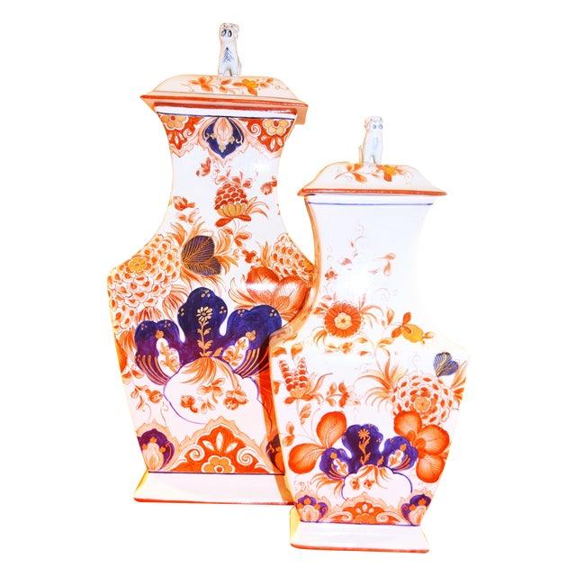 Italian Meiselman Foo Dog Vases - Pair - Image 1 of 7