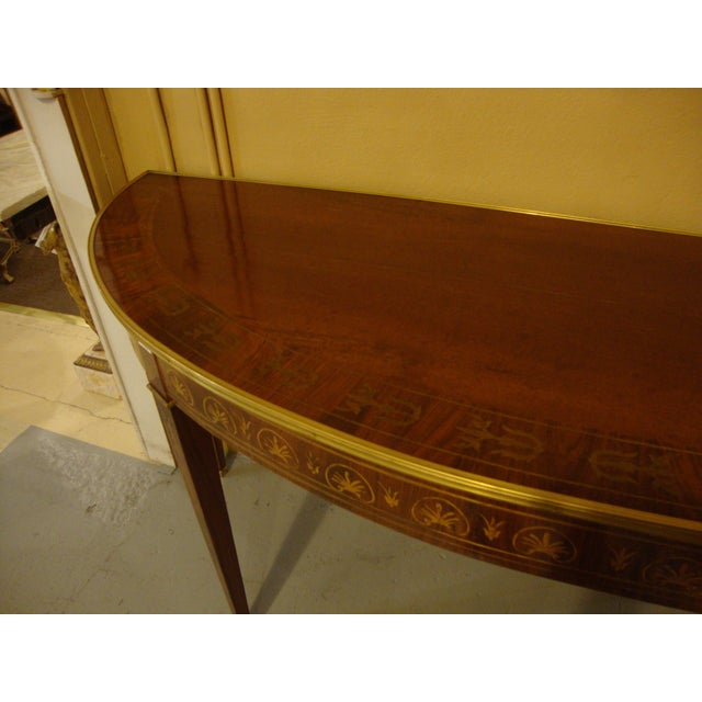 Boule Inlaid Demilune Console Tables - A Pair For Sale In New York - Image 6 of 11