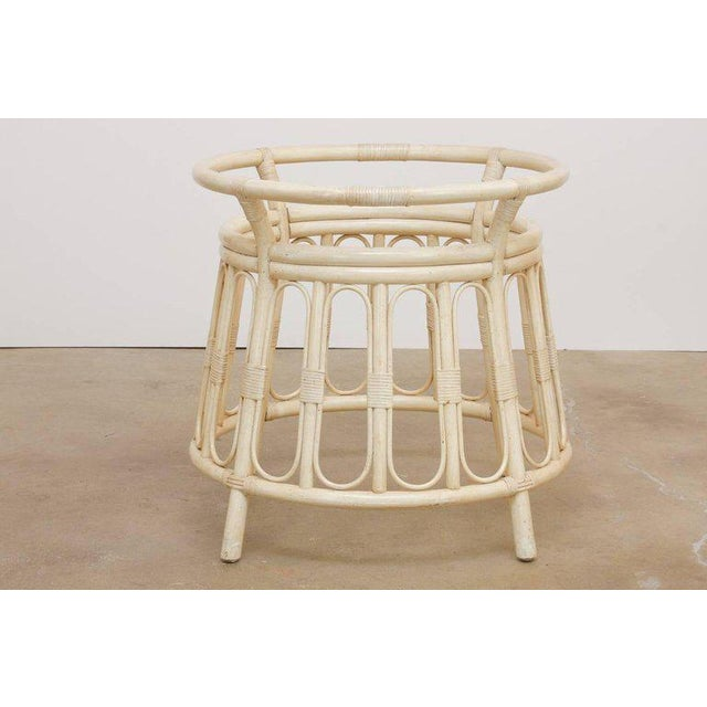 Bamboo Rattan Lacquered Round Dining Table by Brown Jordan For Sale In San Francisco - Image 6 of 13