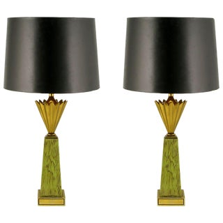 Pair of Stiffel Brass Crown and Sage Lacquer Obelisk Table Lamps