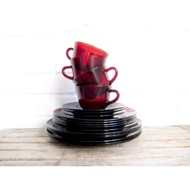 Vintage Ruby Red Glass Tea Cups & Plates - 16 Pcs - Image 2 of 6