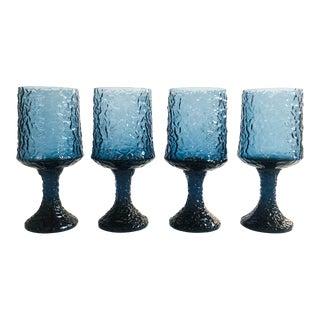 Vintage Blue Impromptu Wine Glasses by Lenox - Set of 4 For Sale