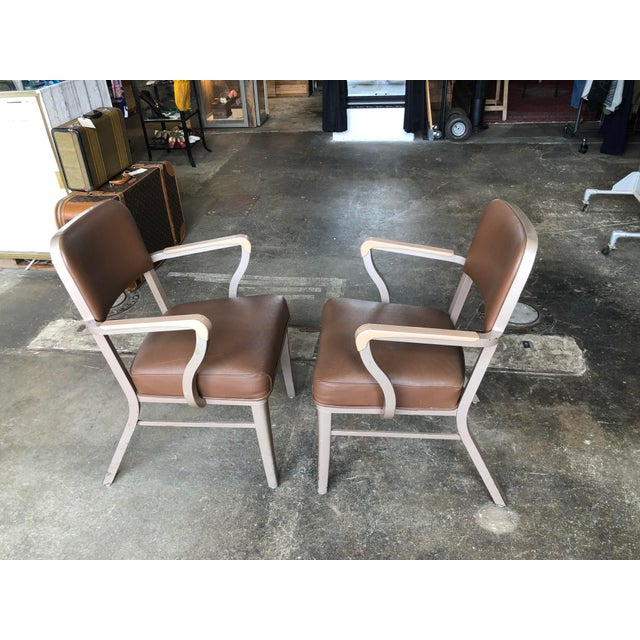 Mid 20th Century Steelcase Mid Century Industrial Arm Chairs - a Pair For Sale - Image 5 of 9