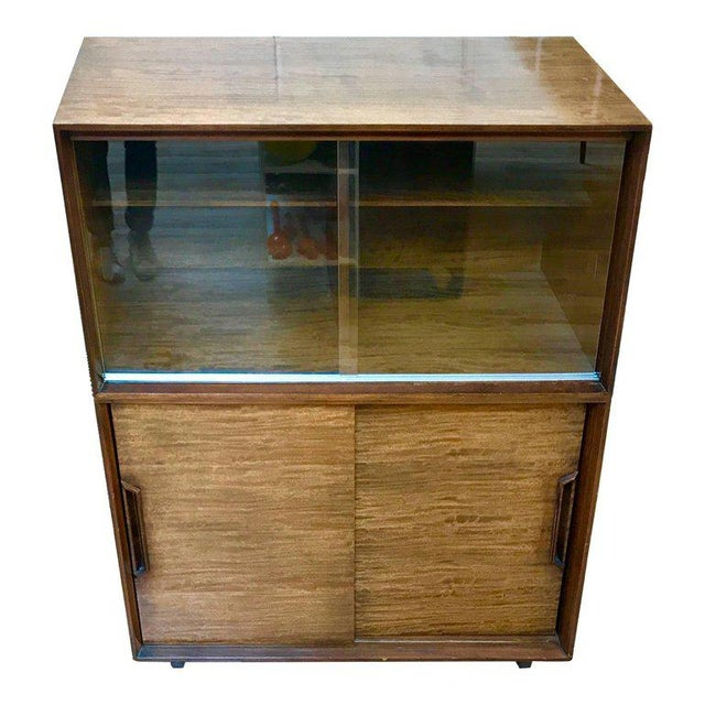 Drexel 1950s Mid-Century Modern Milo Baughman for Drexel Perspective Mindoro Wood China Hutch For Sale - Image 4 of 12