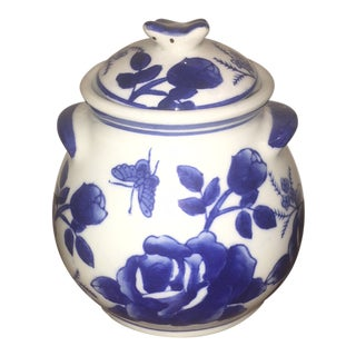 Early 20th Century Vintage Chinese Blue and White Porcelain Ginger Jar For Sale