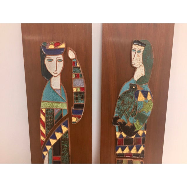 Harlequin Figure Tile Plaques - A Pair For Sale In Houston - Image 6 of 8