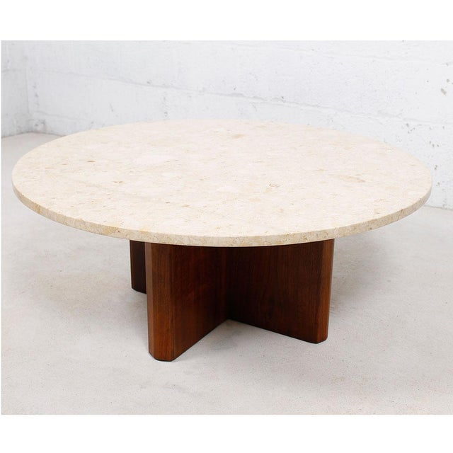 """Travertine Marble Top Coffee Table with """"X"""" Base - Image 2 of 9"""