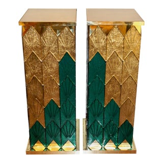 Bespoke Italian Art Deco Style Green Gold Murano Glass Brass and Wood Pedestals - a Pair For Sale
