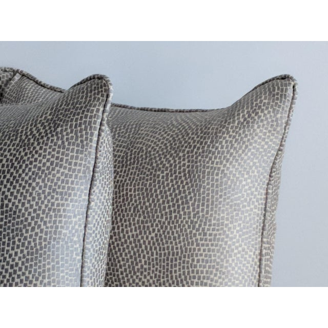 Fabric Silver & White Kravet Fabric Pillows – a Pair For Sale - Image 7 of 7