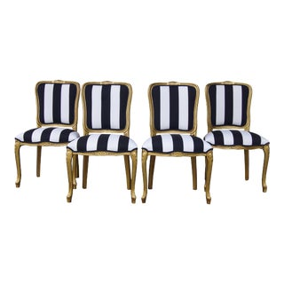 Vintage French White and Black Stripe Dining Chairs - Set of 4 For Sale