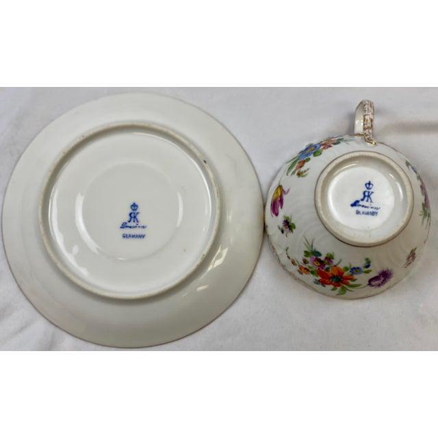 Ceramic Antique 19th Century Richard Klemm Dresden Porcelain Demitasse Cup & Saucer For Sale - Image 7 of 10