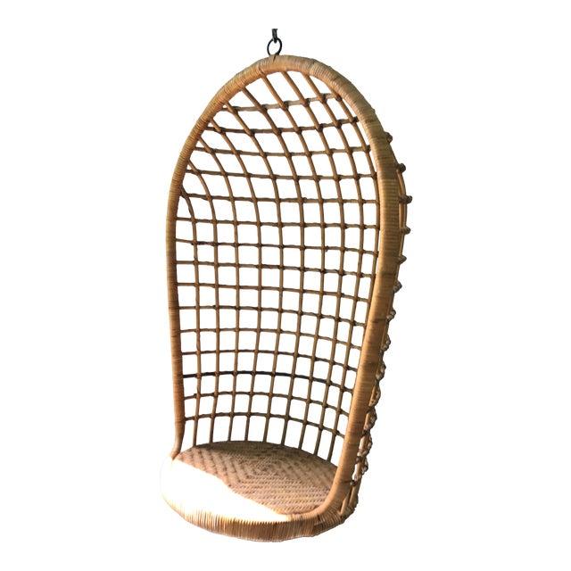 Vintage Hanging Rattan Egg Chair - Image 1 of 7