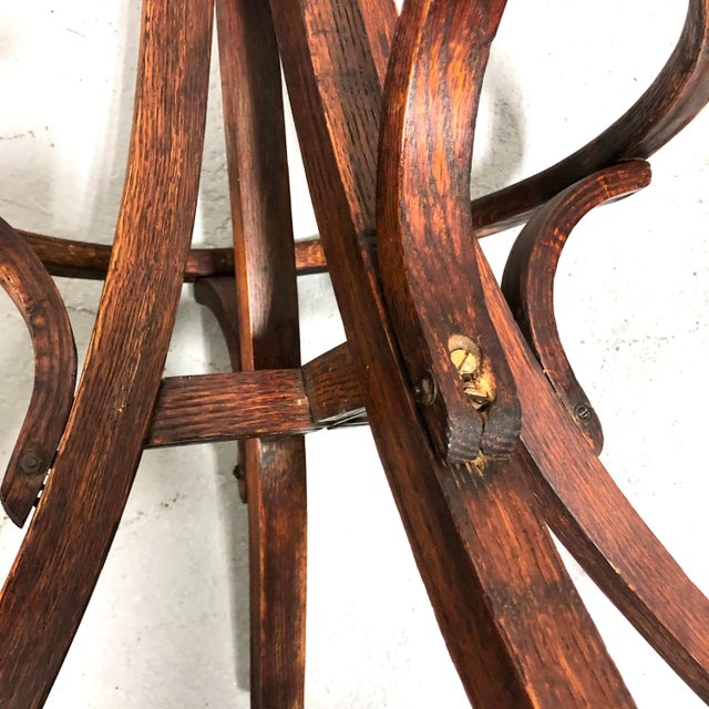 Antique Architectural Industrial Oak Drafting Stool For Sale - Image 12 of 13
