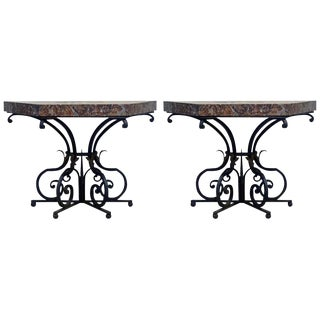 Pair of 19th Century French Wrought Iron Trapezoid Marble Slab Console Tables For Sale