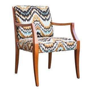 Reupholstered Vintage Danish Ikat Wooden Armchair
