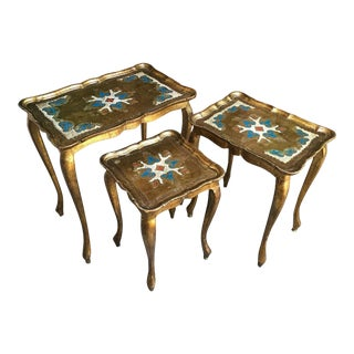 Set 3 Vintage Italian Florentine Gold Wood Nesting Coffee Table Regency Tole For Sale