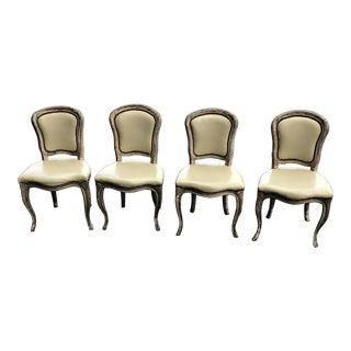 1940s Vintage French Louis XVI Nailhead Leather Dining Chairs- Set 4 For Sale
