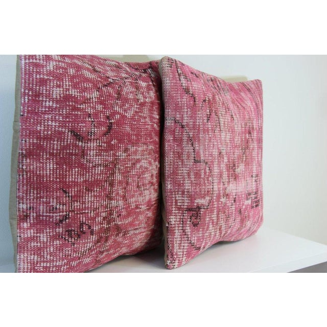 Pink Handmade Over-Dyed Rug Pillow Covers - A Pair - Image 5 of 6