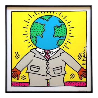 "Keith Haring Rare Vintage 1990 Lmtd Edtn Collector's Framed Pop Art Original Silkscreen Print "" Earthman "" 1986 For Sale"