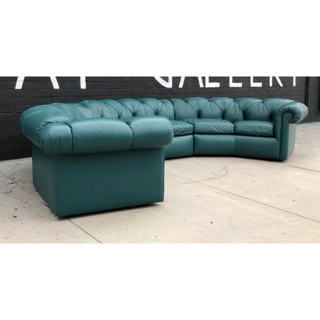 1970\'s Tufted Leather A. Rudin Circular Sectional Sofa | Chairish