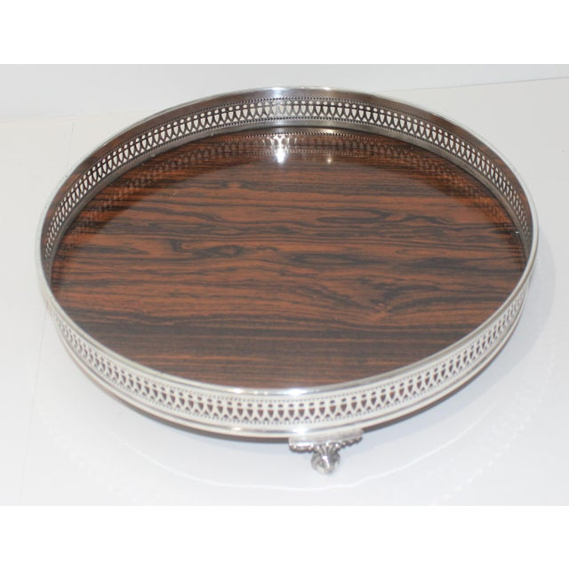 Sheffield Silver Plate Footed Serving tray with gallery surround on faux rosewood formica.