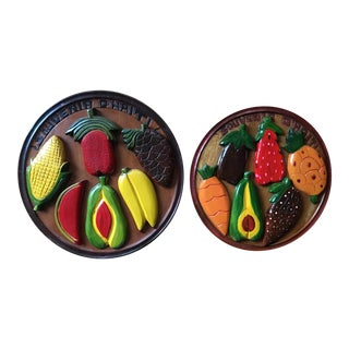 Mid Century Tiki Hand-Carved Wooden Fruit Plates - a Pair For Sale