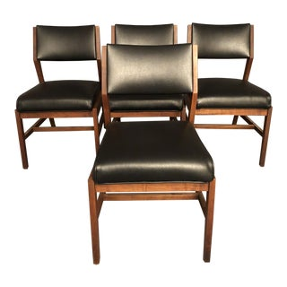 Mid Century Curated Dining Leather Chairs- Set of 4 For Sale