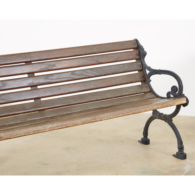 Neoclassical Style Cast Iron and Wood Park Bench For Sale - Image 4 of 13