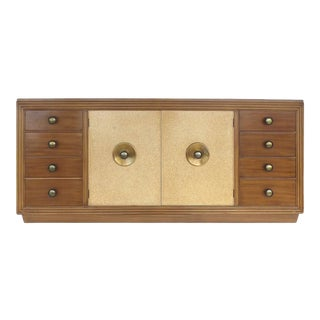 Paul Frankl for Johnson Furniture Mahogany, Cork and Hammered Brass Sideboard For Sale