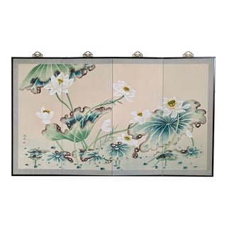 Early 20th Large Byobu Japanese Lotus Hand Painted Silk 4 Panels Screen Signed. For Sale