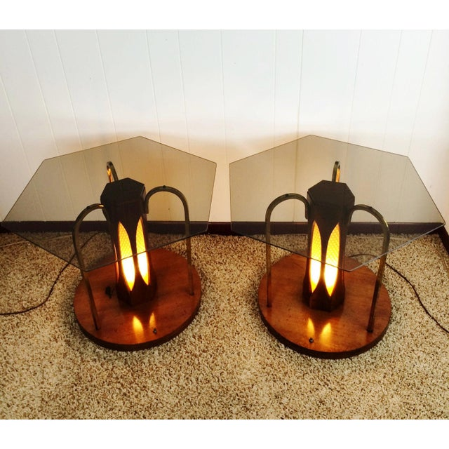 Mid-Century Wood & Glass Coffee & Lighted Side Table - Set of 3 For Sale - Image 9 of 10