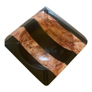 1970's Vintage Art Deco Marble Black & Pink Striped Ashtray For Sale