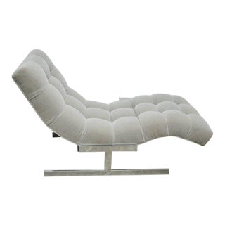 Wave Chaise in Grey Mohair, circa 1970s
