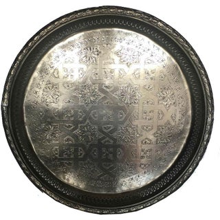 Chris Vintage Moroccan Silver Tray For Sale