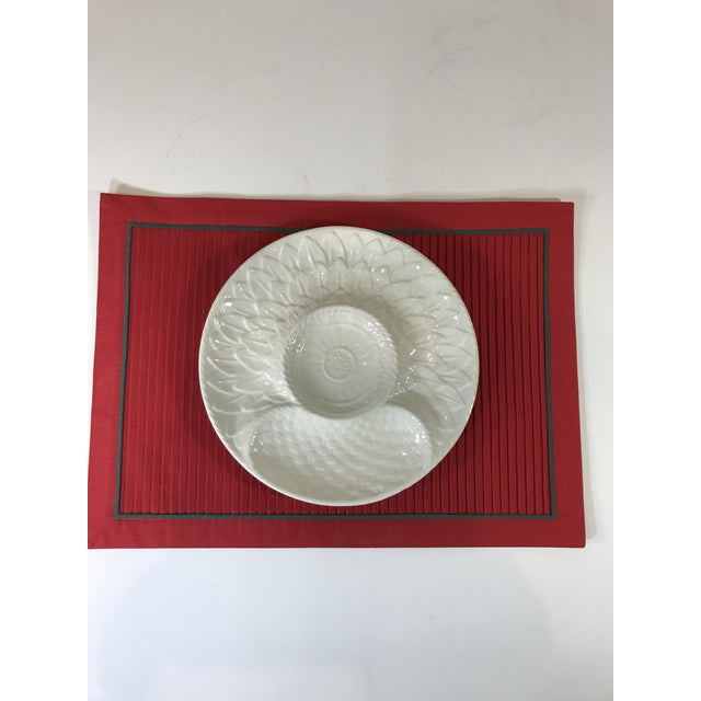 Secla Mid-Century White Portuguese Majolica Oyster/Shrimp Cocktail Plates - Set of 6 For Sale - Image 4 of 13