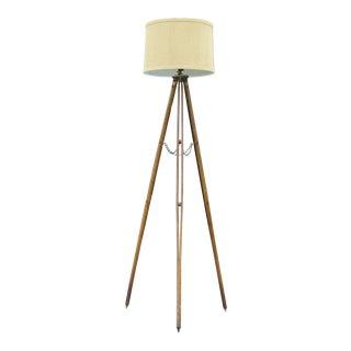 Vintage Surveyor's Tripod Wood Floor Lamp