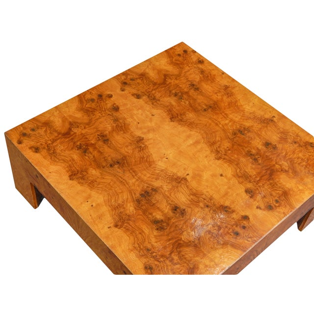 Large Square Bookmarked Burl Veneer Coffee Table For Sale - Image 9 of 11