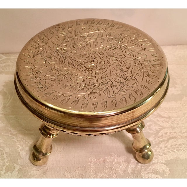 Islamic Moroccan Brass Warming Stool For Sale - Image 3 of 8