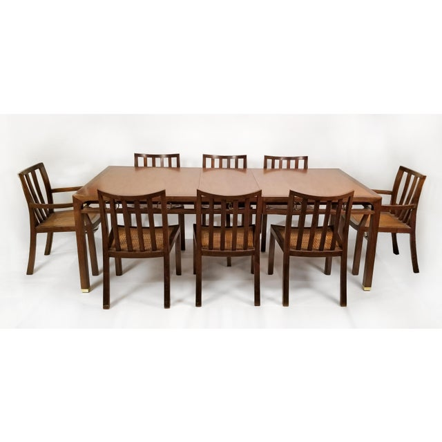 Brown 1960's Baker Far East Collection Dining Room Table and Chairs by Michael Taylor For Sale - Image 8 of 13