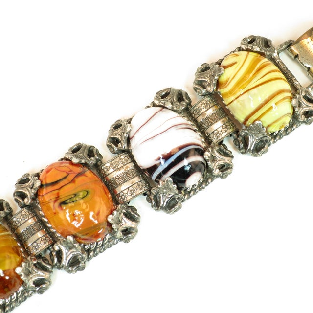 Traditional Mid-Century Selro Agate Art Glass Florentine Link Bracelet, 1950s For Sale - Image 3 of 13