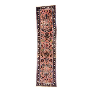 """1920s Antique Distressed Coral Blue Wool Hand-Knotted Runner - 2'6"""" X 10'3.5"""" For Sale"""