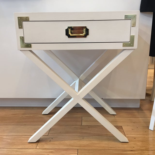 Campaign Port to Port Single Drawer Table For Sale - Image 4 of 4