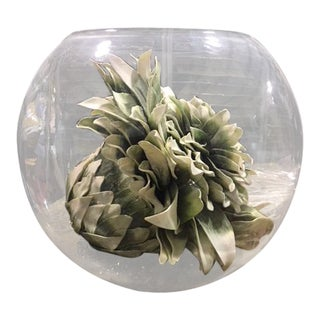 Glass Bubble Bowl With Faux Succulant