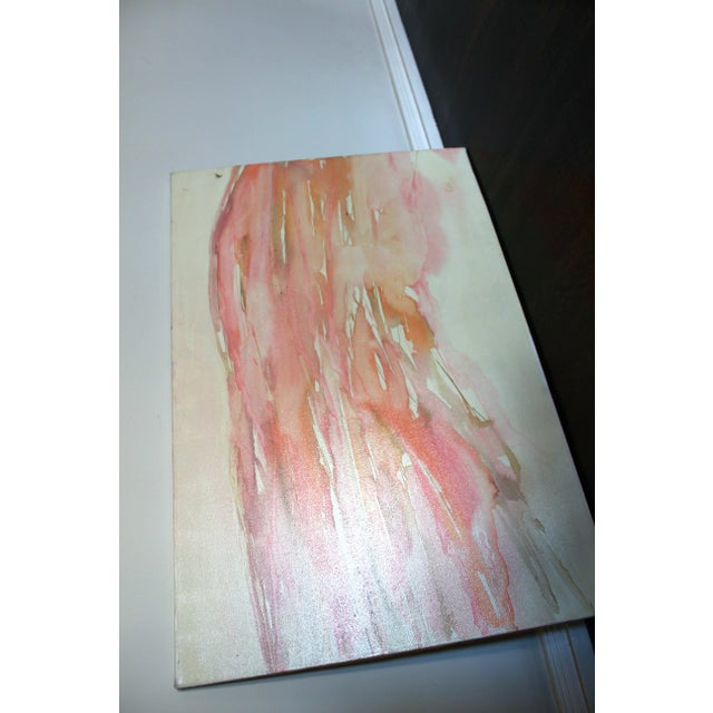 Mid-Century Modern Vintage Oil Painting in Pinks and Orange For Sale - Image 3 of 3