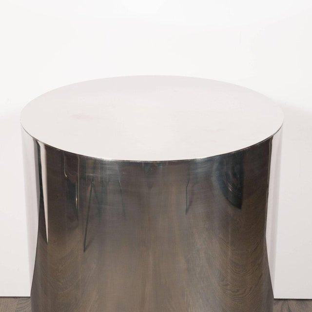 American Mid-Century Modern Cylindrical Chrome Side Table or Pedestal For Sale - Image 4 of 6