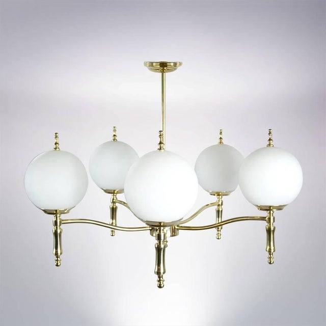 Italian Brass Chandelier, Circa 1950s For Sale In New York - Image 6 of 9
