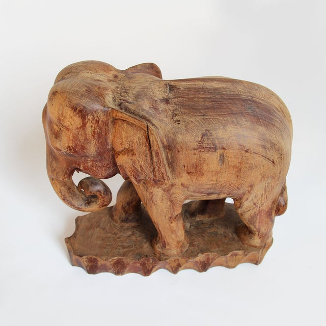 Antique thai wood elephant chairish Where can i buy reclaimed wood near me