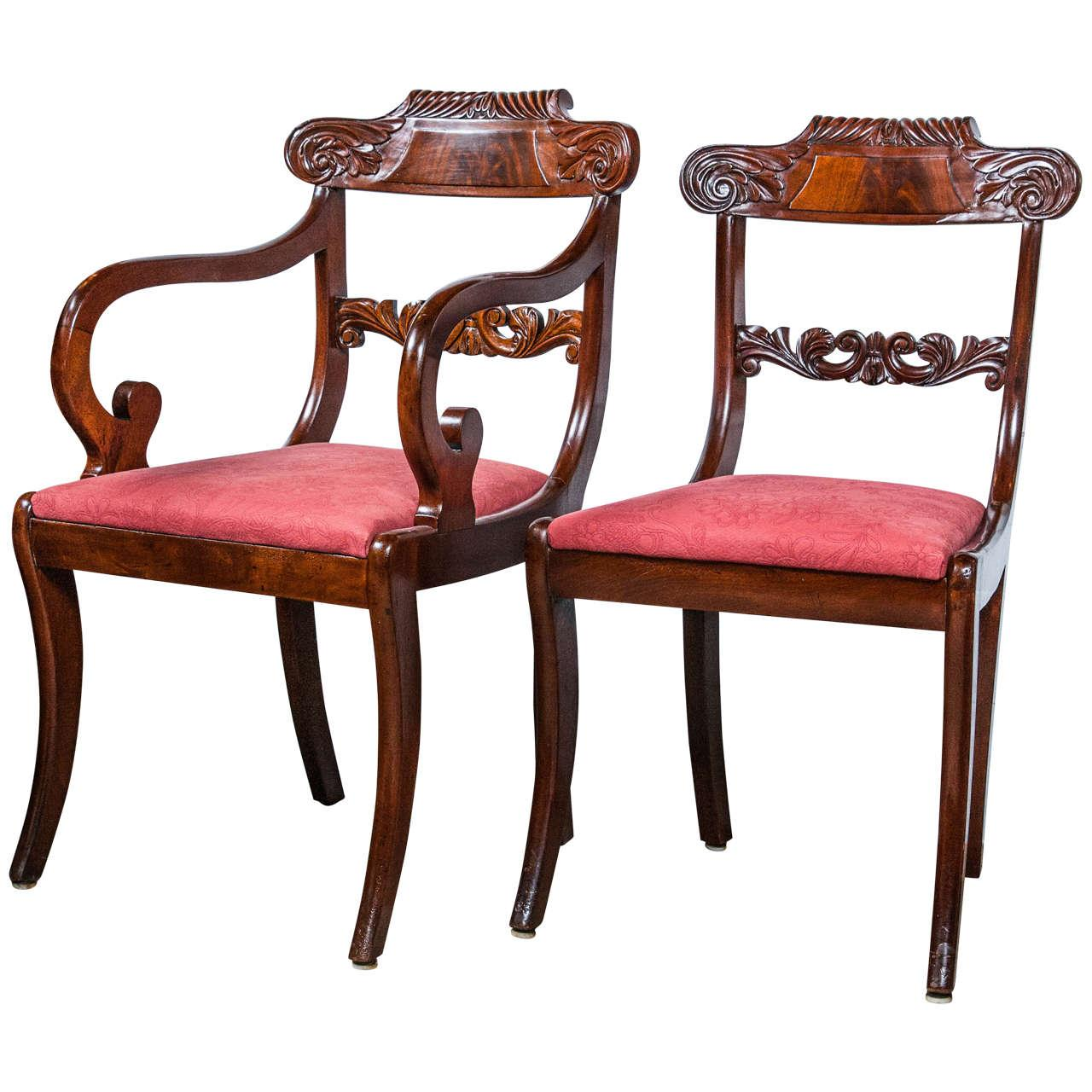19th C. English Regency Dining Chairs   Set Of 8 For Sale   Image